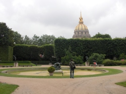 Les Invalides dome over garden wall